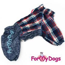 ForMyDogs Комбинезон для собак синий в клетку для мальчиков, размер С1