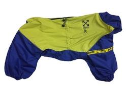 LifeDog Дождевик для больших пород собак, неон желтый/василек, размер 5XL, спина 60см