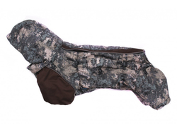 ZooAvtoritet Комбинезон на флисе для таксы, серо/коричневый, размер ТБ1, спина 48-50см