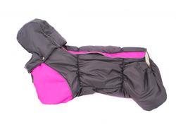 ZooAvtoritet Комбинезон на флисе для таксы, серый/розовый, размер ТБ1, спина 48-50см