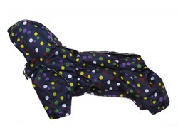 ZooAvtoritet Комбинезон зимний для французского бульдога, на флисе, синий/горох, размер ФР1, ФР2