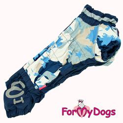 ForMyDogs Комбинезон для такс синий/серый камуфляж, для мальчика, размер ТМ2, ТС1, ТС2