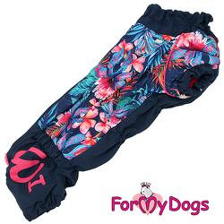 """ForMyDogs Комбинезон для такс черный/розовый """"Цветы"""", размер ТМ2, ТС1, модель для девочек"""