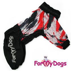 ForMyDogs Дождевик для больших собак, черно/красный, модель для девочки, размер С3