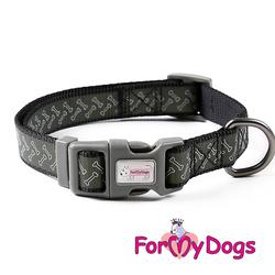ForMyDogs Ошейник для собак крупных пород черный, размер L (2,5см х 42-62см)