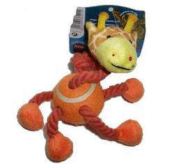 TRIXIE Игрушка для собак веревочная с теннисным мячом Жираф 14см
