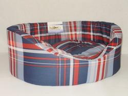 Бобровый дворик Лежак для собак и кошек овальный с бортиком, шотландка синяя