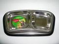 Триол Миска для собак и кошек двойная металлическая на резинке, 0,15л х 11см