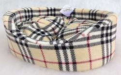 Бобровый дворик Лежак для собак овальный с бортиком, поларфлис набивной, шотландка светлая