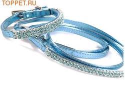 ForMyDogs Комплект ошейник с поводком с кристаллами, цвет голубой