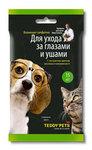 Teddy Pets Влажные салфетки для ухода за глазами и ушами с экстрактом цветков василька и витамином А, в упаковке 15шт.