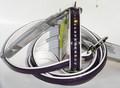 Hunter  Ошейник с поводком цвет фиолетовый/белый Modern Violet Luxus, стразы, размер ошейника 32/11(24х28,5см), размер поводка 8/110см, лакированный кожзам