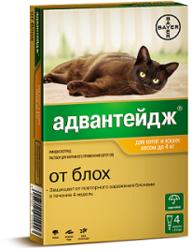 Bayer АДВАНТЕЙДЖ 40К капли от блох для кошек до 4 кг