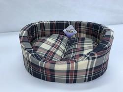 Бобровый дворик Лежак для собак и кошек овальный с бортиком, шотландка бежевая