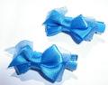 "ForMyDogs Зажим для собак ""Бантик"" синий шелк 3,0см"