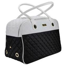 DOGMAN Сумка -переноска для собак Малибу, черно/белая, размер 42х22х28 см
