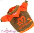 ForMyDogs Толстовка с принтом и вышивкой оранжевая, размер 8, 14