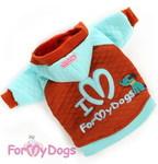 ForMyDogs Толстовка с принтом и вышивкой голубая, размер 12