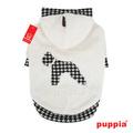 Puppia Толстовка из мягкого искусственного меха, цвет белый, размер М с рукавами и капюшоном