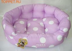 FAUNA INT Лежак INT CLARET PINK для собак и кошек мягкий, 53см, цвет сиреневый горох