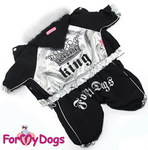 ForMyDogs Комбинезон зимний на подкладке из мягкого меха, цвет черный/серебро, размер 8 модель для мальчиков