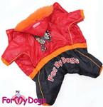 ForMyDogs Комбинезон теплый на подкладке из полированного меха, цвет красный/черный, модель для мальчиков, размер 10