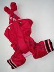 LifeDog Брюки для собак из непромокаемой ткани теплые, цвет красный, размер S. Длина спины 22-26см