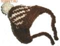Шапочка коричневая вязанная, размер М