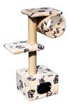 ЗООНИК Домик-когтеточка с 2-мя площадками и трубой (мех) 40*36*98см
