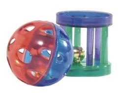 Beeztees Игрушка для кошек Мяч-погремушка и цилиндр с колокольчиком 4см (блистер) 2шт