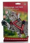 Beeztees Шлейка для кошек нейлоновая красная с сердечками 120см*10мм