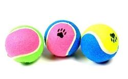 """Beeztees Игрушка для собак """"Мячик теннисный с отпечатками лап"""", разноцветный"""