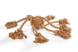 """Beeztees Игрушка для собак """"Клубок веревочный с канатиками"""", оранж 32см"""