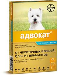 Bayer Адвокат 100 Антипаразитарные капли на холку для собак 4-10кг, 3пипетки*1мл