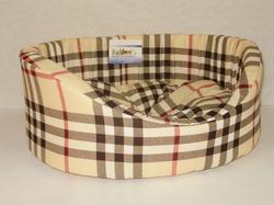 Бобровый дворик Лежак для собак и кошек овальный с бортиком, шотландка светлая