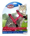 TRIXIE Шлейка с поводком для кошки 35-45см/10мм/1.20м, красная, нейлон с рисунком