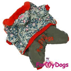 ForMyDogs Комбинезон для маленьких собак зеленый/оранж, размер 12, модель для девочек