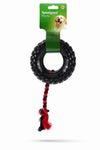 """Beeztees Игрушка для собак """"Покрышка на веревке"""" черная, TPR 15см"""