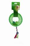 """Beeztees Игрушка для собак """"Покрышка на веревке"""" зеленая, TPR 15см"""