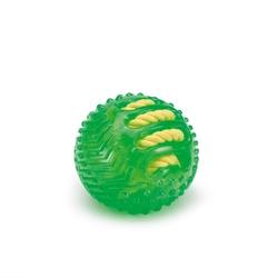 """Beeztees Игрушка для собак """"Мяч с вшитой веревкой"""" зеленый, TPR 9см"""