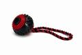 """Beeztees Игрушка для собак """"Мячик шипованный на веревке"""" черно-красный, TPR 9см"""