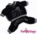 """ForMyDogs Костюм велюровый для собак """"Pug"""" породы мопс черный, размер А2, длина спины 33-34см"""