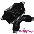 ForMyDogs Костюм велюровый черный для собак чихуахуа, размер 12