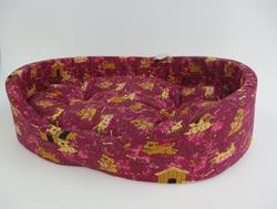"""Бобровый дворик Лежак для собак и кошек овальный с бортиком """"Эксклюзив"""" синий"""