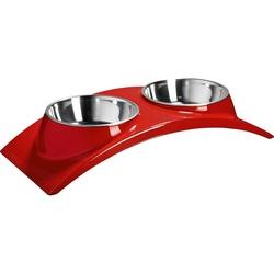 """SuperDesign Миска двойная на меламиновой подставке """"Элеганс"""" 2*0,16 л красная"""