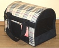 DOGMAN Сумка -переноска для собак Стандарт, черный/ бежевая шотландка, №2, 40х25х30см