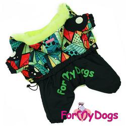 ForMyDogs Комбинезон для маленьких собак черный/мультиколор, размер №10, №12, модель для мальчиков