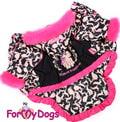 ForMyDogs Куртка для собак черно/розовая на меховой подкладке, размер 10