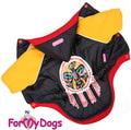 ForMyDogs Куртка для собак на теплой подкладке, цвет черный/оранжевый, размер 14