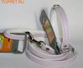 Hunter Ошейник с поводком цвет розовый/белый Modern Art, размер ошейника 27/11(20х23,5см), размер поводка 8/110см, кожзам